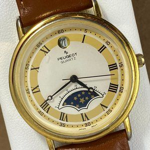 Vintage Peugeot Celestial Moon Phase Women's Watch